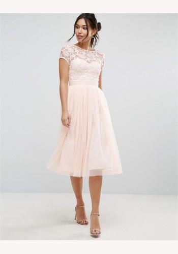 Béžové midi šaty s čipkou s krátkym rukávom 202 25e93dff3c6