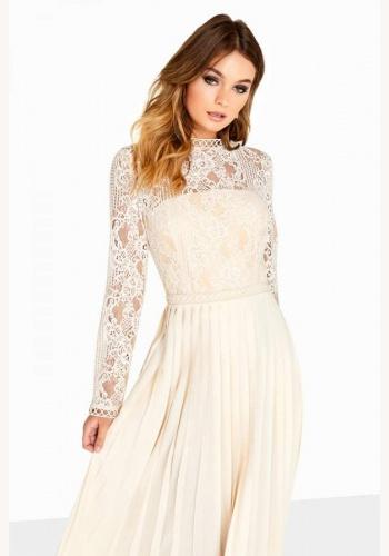 4372453f4b52 Krémové midi šaty so skladanou sukňou s čipkou s dlhým rukávom 203L