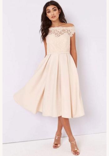 Telové midi šaty s čipkou s krátkym rukávom 204 92df9bea9b0