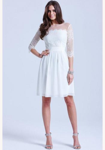 c8e02877373d Krémové mini šaty s čipkou s 3 4 rukávom 205
