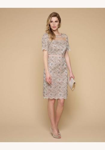 97d1a44e5a91 Béžové midi úzke čipkované šaty s krátkym rukávom 209