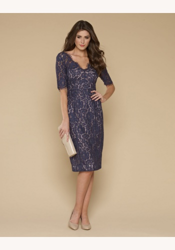 Modré midi úzke čipkované šaty s krátkym rukávom 210MN bed11bfc086