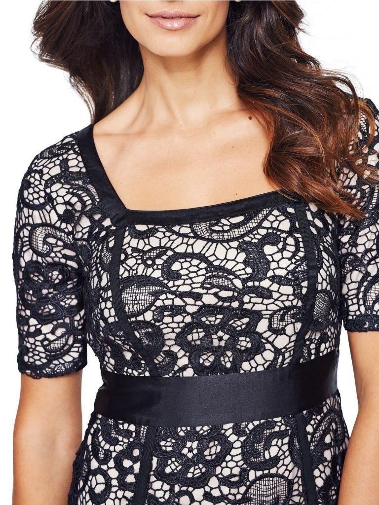 3c79fed7cefe Čierne midi úzke čipkované šaty s krátkym rukávom 211 - Salón Emily