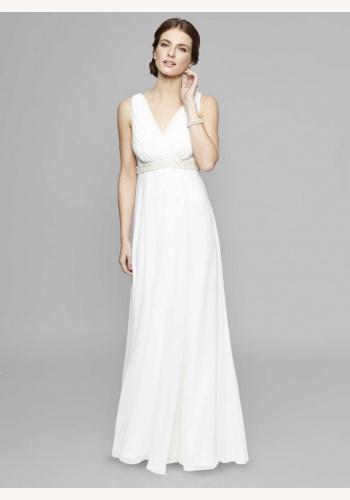 7a2281e92dea Smotanové dlhé svadobné šaty s výstrihom na hrubé ramienka 213W