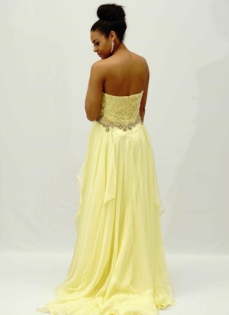 f7d3eb7ac85f Žlté dlhé korzetové šifónové šaty s kamienkami 438AR - Salón Emily