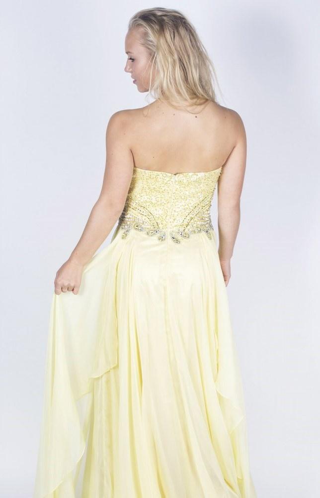 Žlté dlhé korzetové šifónové šaty s kamienkami 438AR 9c7e8764ae0