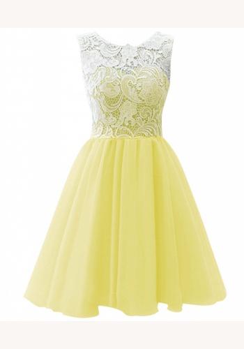Žlté mini šaty s čipkovaným topom bez rukávov 209 57ee23cc126