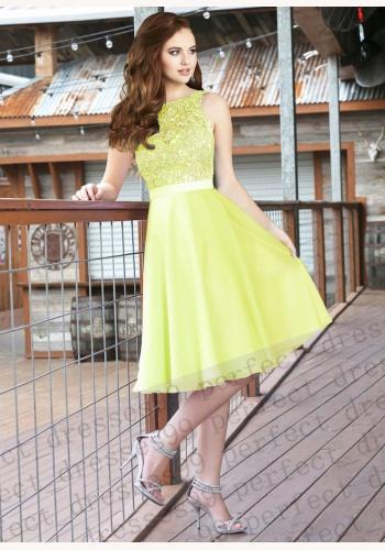 Žlté midi šaty s čipkovaným topom bez rukávov 212 bed6d53fc60