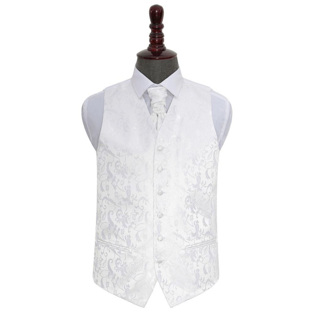 319639952e41 Biela kvetinová svadobná vesta s francúzskou kravatou 043 - Salón Emily