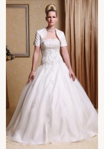 2c842b83e585 Biele dlhé korzetové svadobné šaty s bolerom s krátkym rukávom 042LB