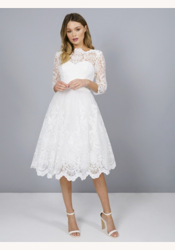 c9cc15e85d57 Biele midi čipkované šaty s 3 4 rukávom 215