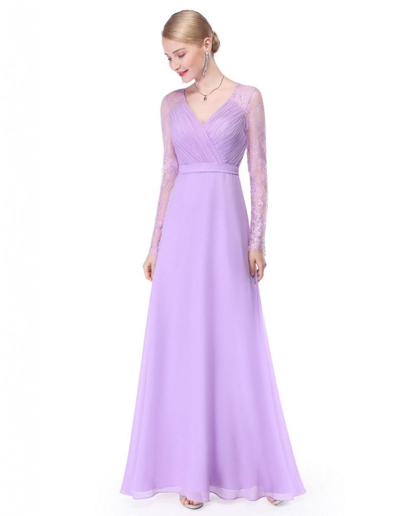 Levandulové dlhé šaty s dlhým čipkovaným rukávom 442 4ef7ef2c42b