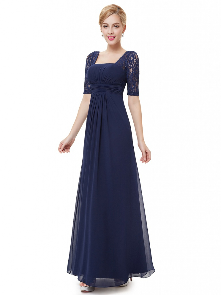Modré dlhé šaty s krátkym čipkovaným rukávom 441EPb 28c54a8fde3