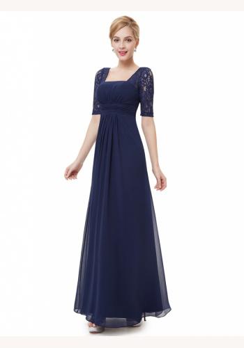 Modré dlhé šaty s krátkym čipkovaným rukávom 441EPb ae384578555