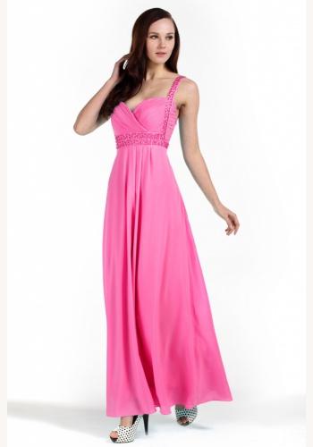 d98fe0cebf87 Ružové dlhé šaty s výstrihom na ramienka 084DBa