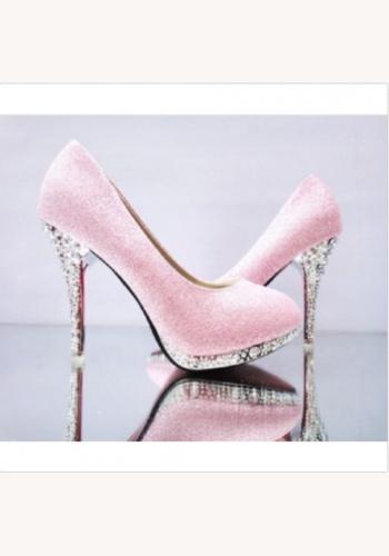 a06c65ffa2925 Ružové spoločenské topánky na platforme s kamienkami 068b