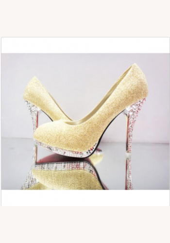 56150a7a6878a Žlté spoločenské topánky na platforme s kamienkami 068c