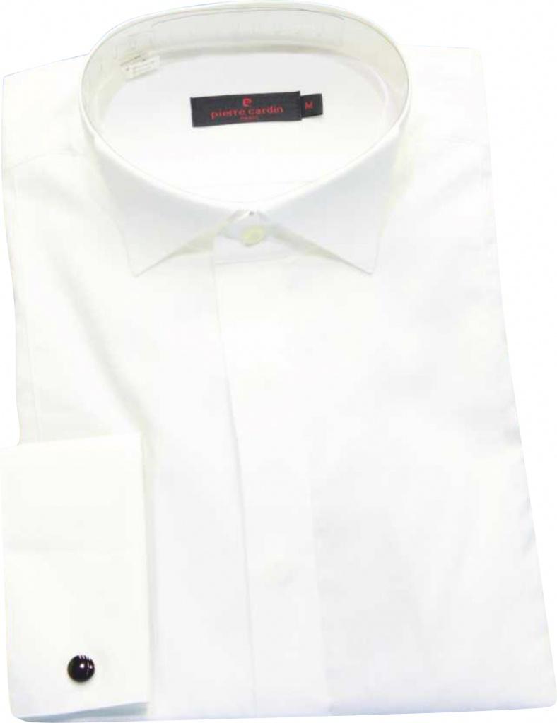 d88d449aef3b Pierre Cardin biela košeľa tuxedo s manžetovými gombíkami 057PC
