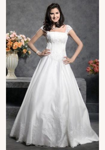 c2689940ef29 Biele dlhé svadobné šaty s čipkou na ramienka 053
