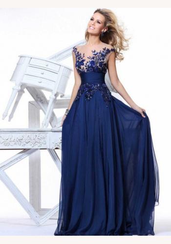 Modré dlhé šaty s vyšívanou aplikáciou bez rukávov 295E 62b7977e045