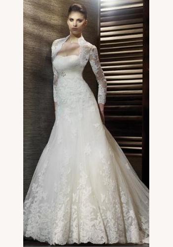 9b89745bd903 Biele dlhé korzetové svadobné šaty s čipkovaným bolerom s dlhým rukávom 059