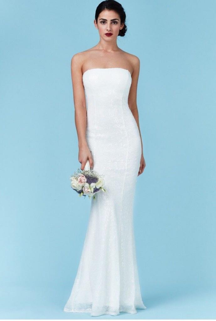 f3c81ac9476 Biele dlhé svadobné korzetové šaty s flitrami morská panna 215Q