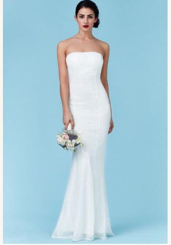 75fa23c73216 Biele dlhé svadobné korzetové šaty s flitrami morská panna 215Q
