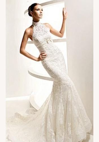 Biele dlhé čipkované svadobné šaty bez rukávov morská panna 063 892dc5fca2e