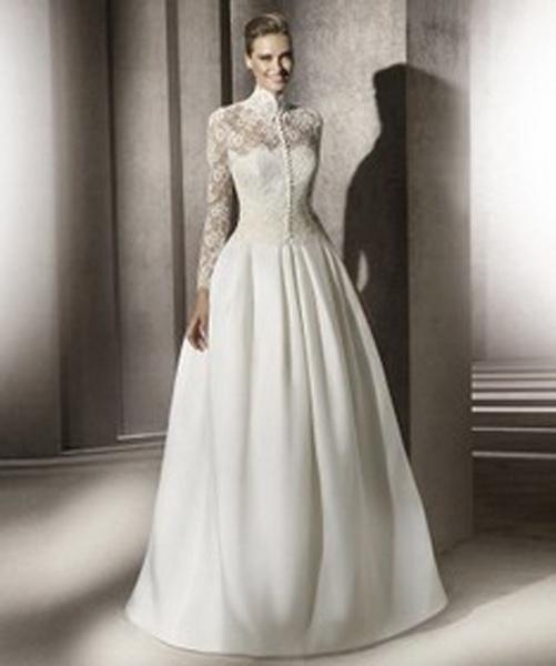 7eeccab93df5 Biele dlhé svadobné šaty s čipkovaným topom s dlhým rukávom 064 ...