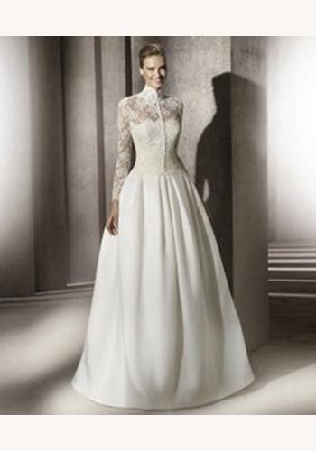 a3c7a0dec009 Biele dlhé svadobné šaty s čipkovaným topom s dlhým rukávom 064