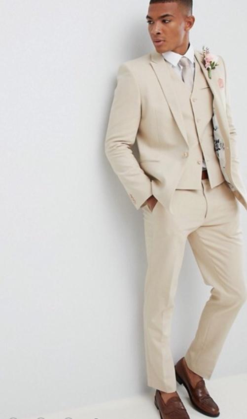 be287c5c791f Krémový pánsky svadobný oblek slim fit 031A - Salón Emily