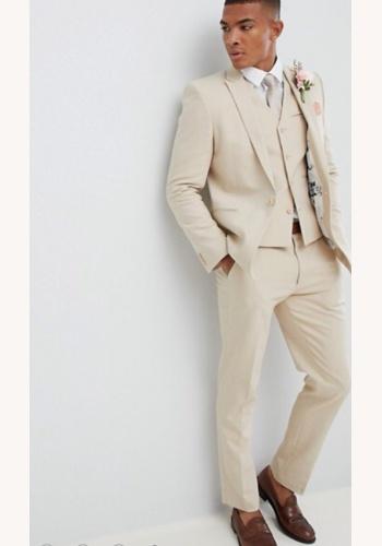 Krémový pánsky svadobný 3-dielny oblek slim fit 031A 062a62e68f