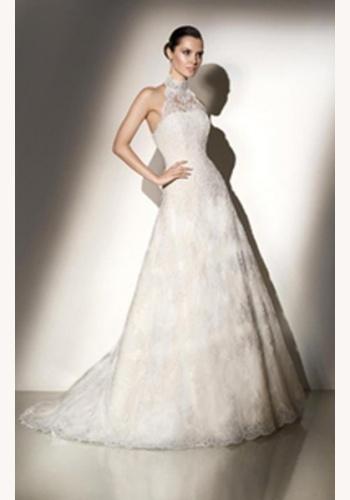 067e7ebd8622 Biele dlhé čipkované svadobné šaty bez rukávov 065