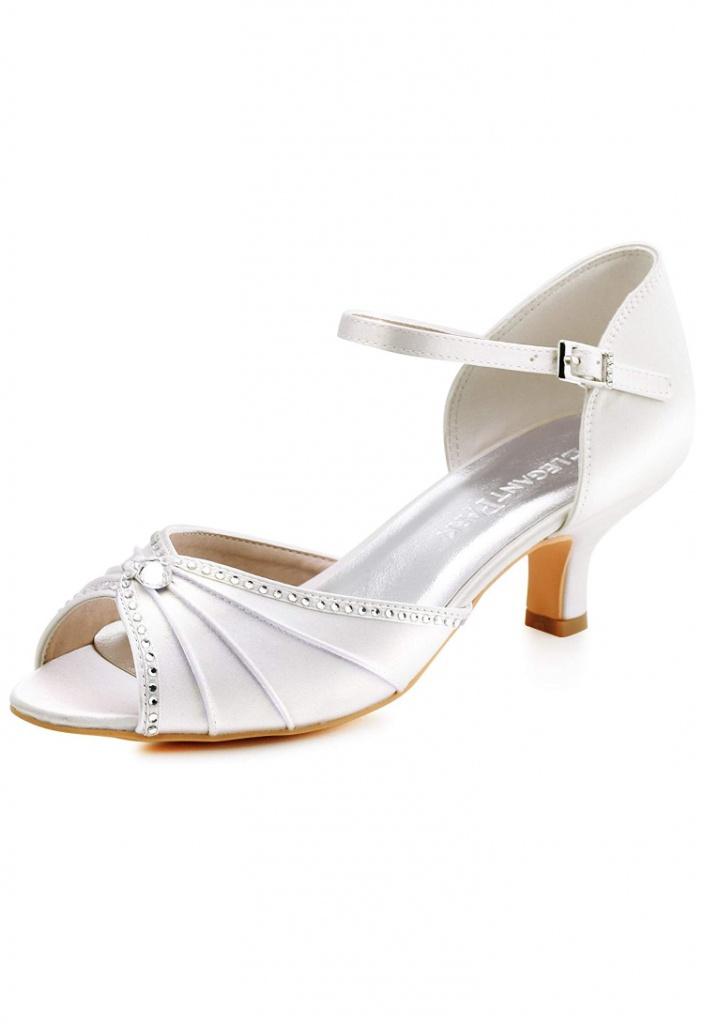 346c5bc95e Smotanové saténové svadobné topánky na nízkom opätku 059 - Salón Emily