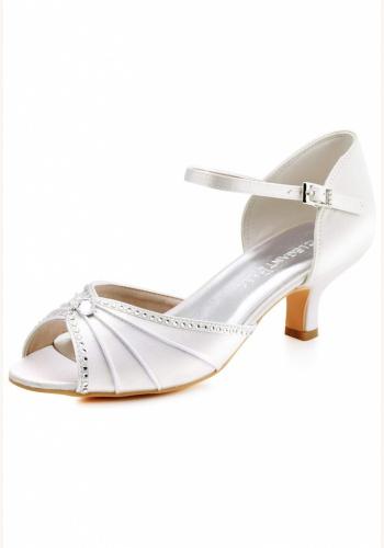 176edfaa42 Smotanové saténové svadobné topánky na nízkom opätku 059