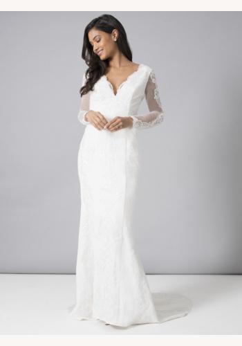 8b831dbd1a87 Biele dlhé svadobné čípkované šaty s dlhým rukávom morská panna 216
