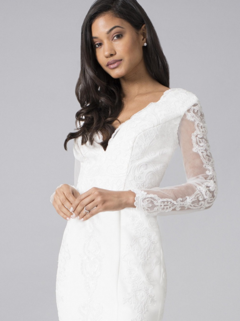 Biele dlhé svadobné čípkované šaty s dlhým rukávom morská panna 216 98f5374dc1d
