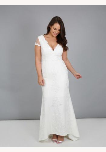 Plus biele dlhé svadobné čipkované šaty s výstrihom s krátkym rukávom 217 59aea13e318