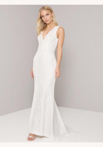 Biele dlhé svadobné šaty s čipkou s výstrihom na hrubé ramienka 218 25be35a22bb