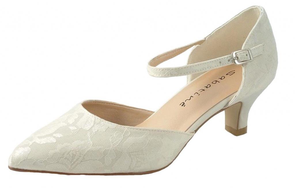 a43ef0d669 Smotanové svadobné topánky s francúzskou čipkou na nízkom opätku 060 ...