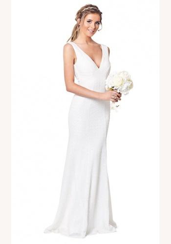 b53346b5f824 Biele dlhé svadobné flitrované šaty s výstrihom na hrubé ramienka 219