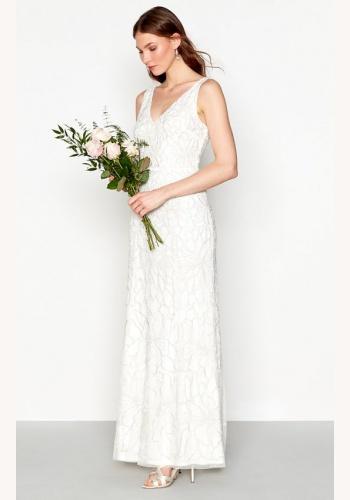 4076b1911ae5 Smotanové dlhé svadobné šaty s korálkami na hrubé ramienka 220
