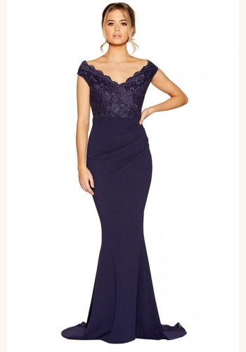 8a2fa4b41346 Modré dlhé šaty s čipkou s výstrihom bez rukávov morská panna 296
