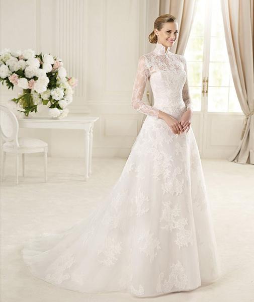 12c92ef8d02e Biele dlhé čipkované svadobné šaty s golierom s dlhým rukávom 072 ...