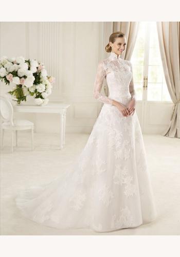 bac577345a1c Biele dlhé čipkované svadobné šaty s golierom s dlhým rukávom 072
