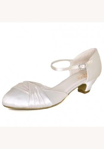 c5e7e38d37 Smotanové saténové svadobné topánky na nízkom opätku 063