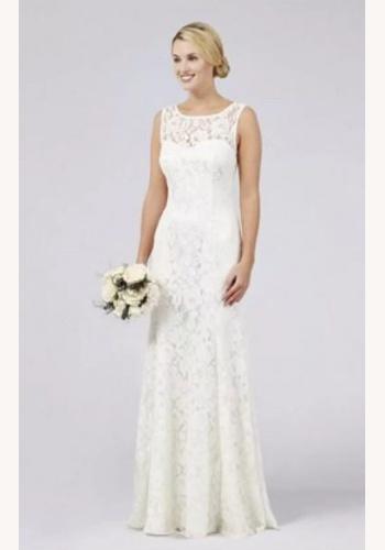 Smotanové dlhé svadobné šaty čipkované bez rukávov morská panna 221D 6355b73c6ff