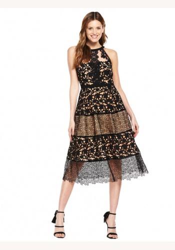 cd558ff69bcf Čierno-telové midi čipkované šaty bez rukávov 216V