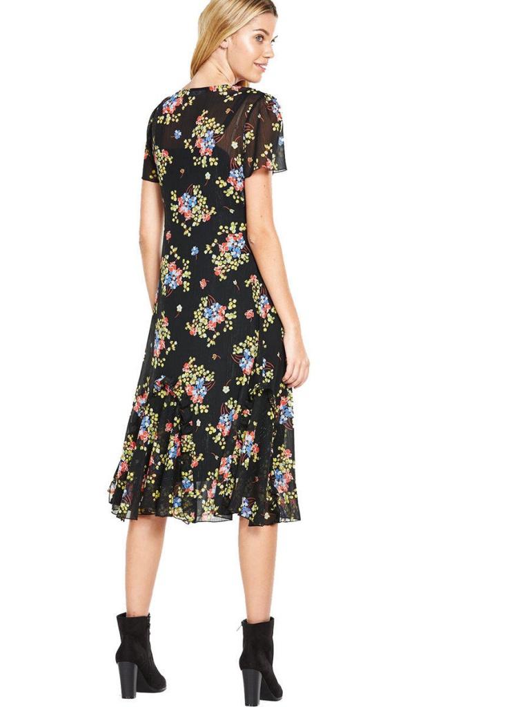 a32873981f60 Čierne midi vintage kvetinové šaty s krátkym rukávom 217V - Salón Emily