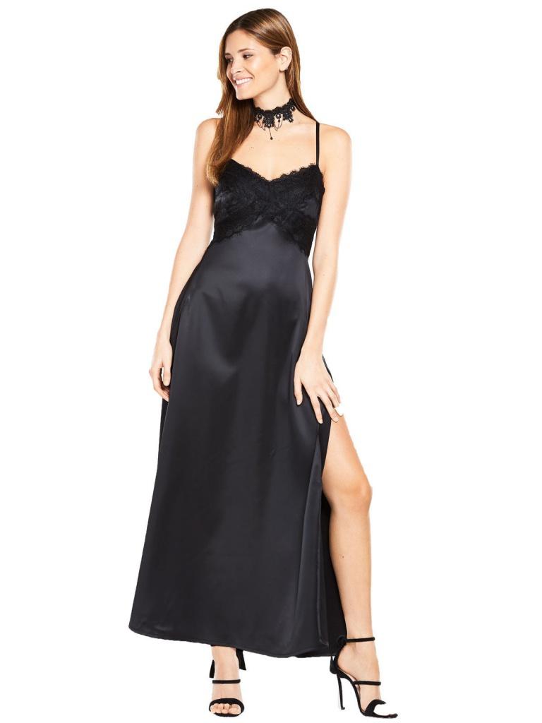 aec92685a106 Čierne saténové dlhé šaty s čipkou na tenké ramienka 297V - Salón Emily